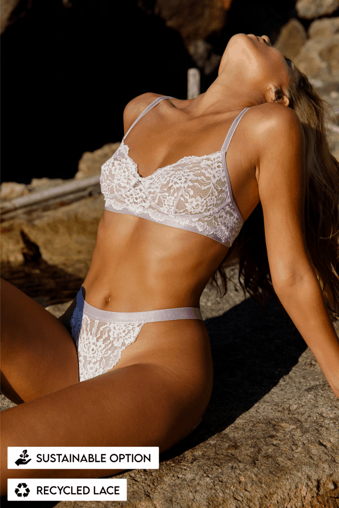 duurzaam duurzaamheid lingerie kant lace lila bh bra thong string sustainable recycled kant lace