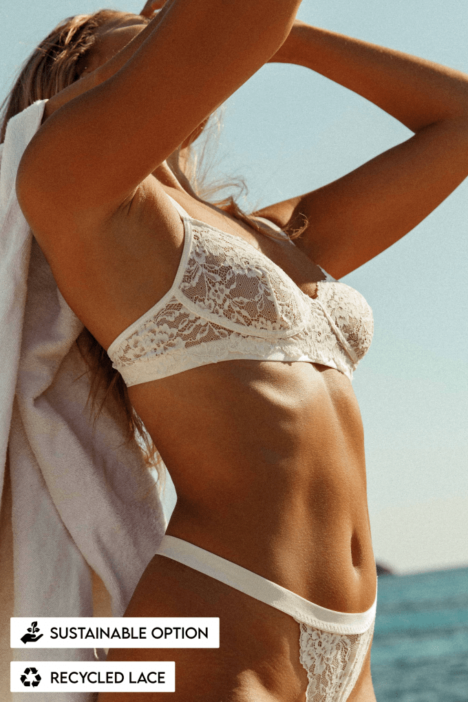 lingerie wit white duurzaam bh bra slip string wit thong duurzaamheid sustainable lace recycled