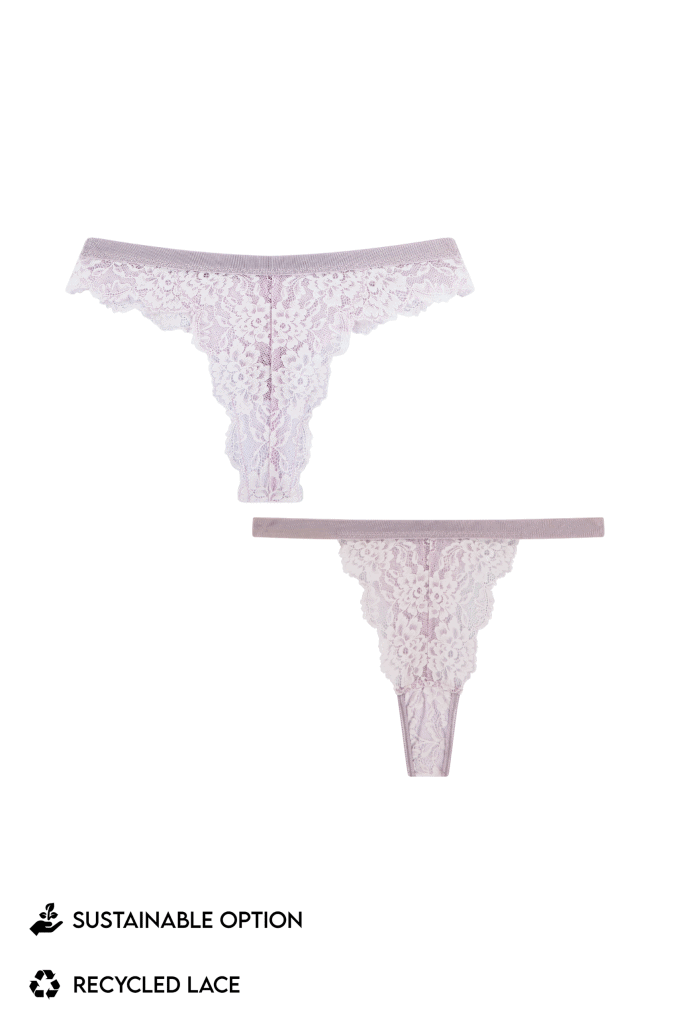 strings thongs slips lila kant lingerie duurzaamheid sustainable recycled lace