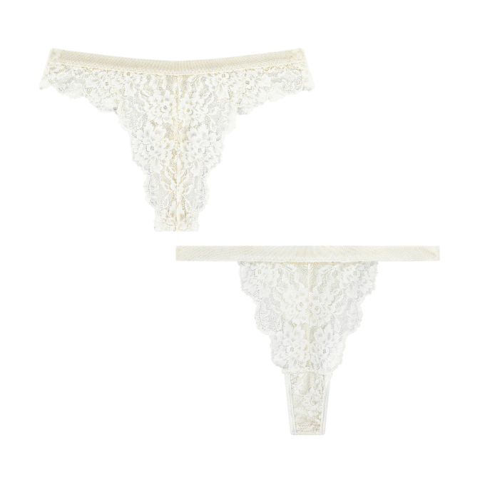 slips thongs strings kant lace duurzaam recycled lingerie ondergoed amsterdam sustainable wit white